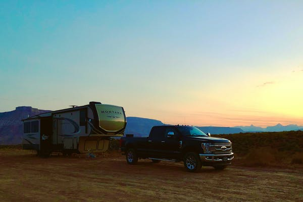 Jama and Randy Maples Keystone RV boondocking outside of Zion National Park.