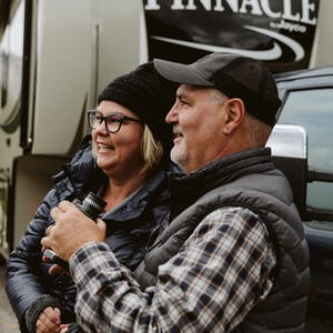 Craig and Tina Klinefelter outside their RV.