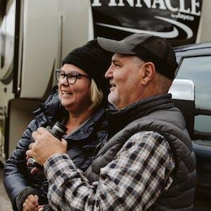 Craig and Tina Klinefelter outside their RV.