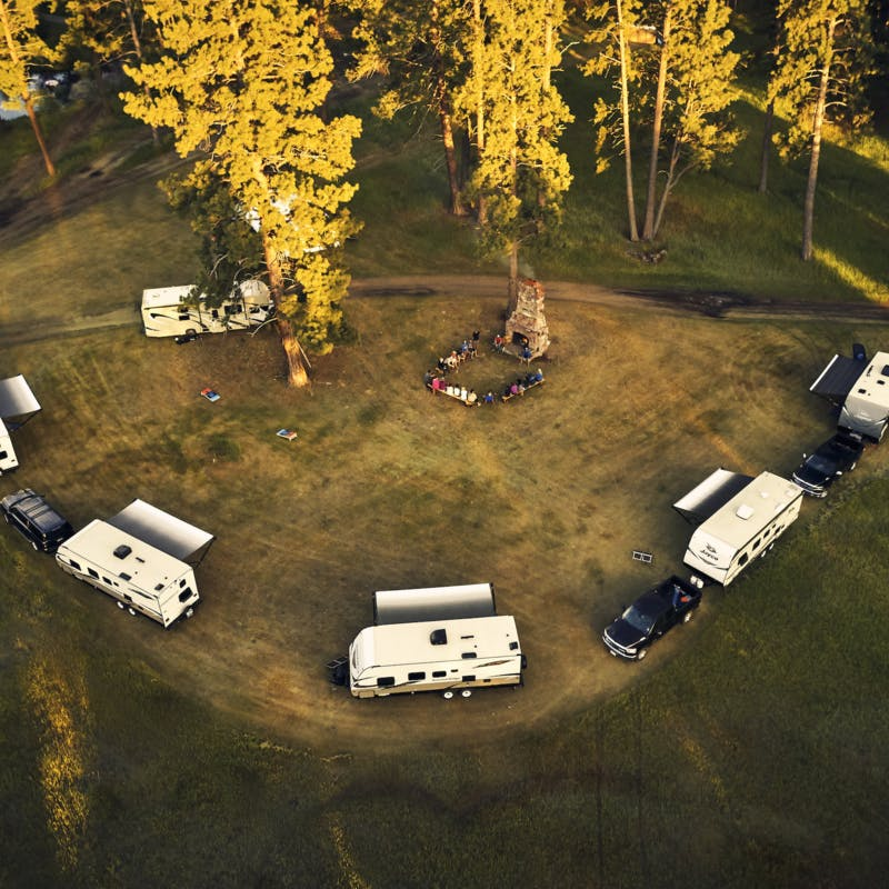 Aerial shot of the RVs in a semi-circle where the participants stayed.