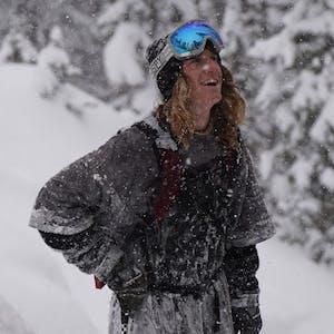 Ryan Barrick standing in falling snow.