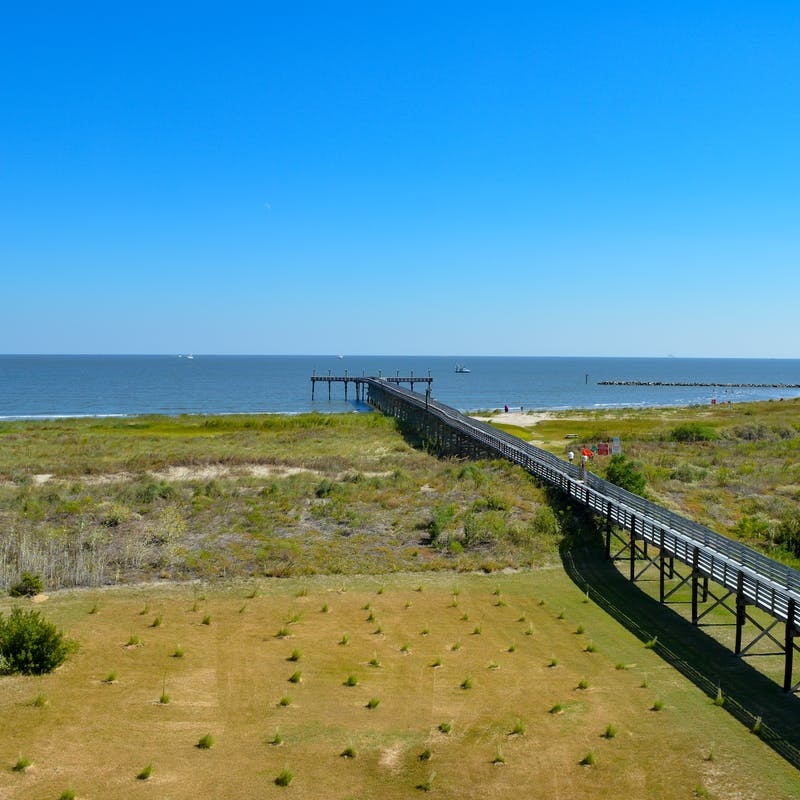 Grand Isle State Park Fishing Pier as seen from the tower