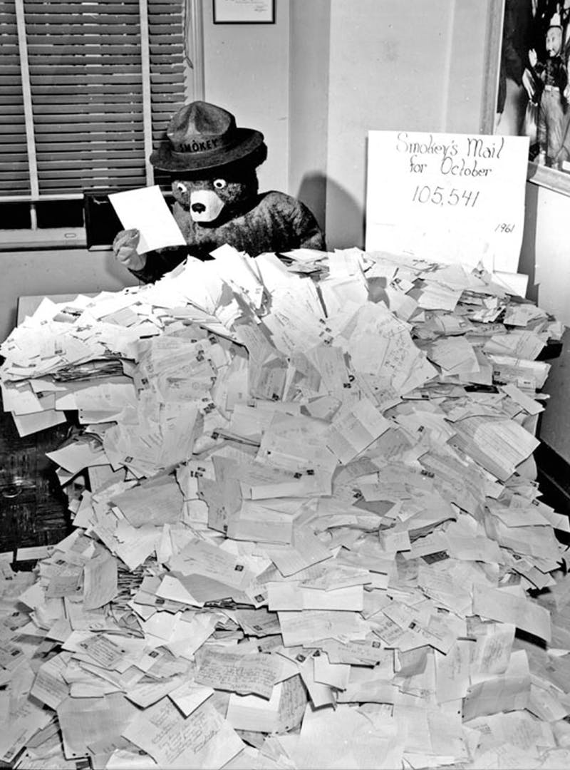 Black and white photo of Smokey Bear reading fan mail