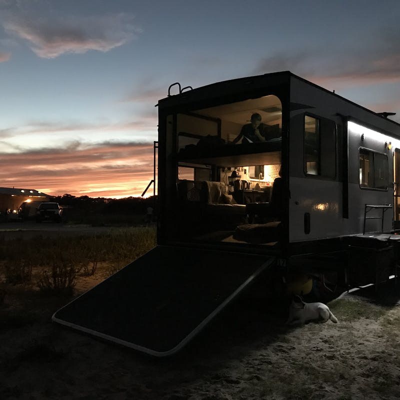 An RV at dusk.
