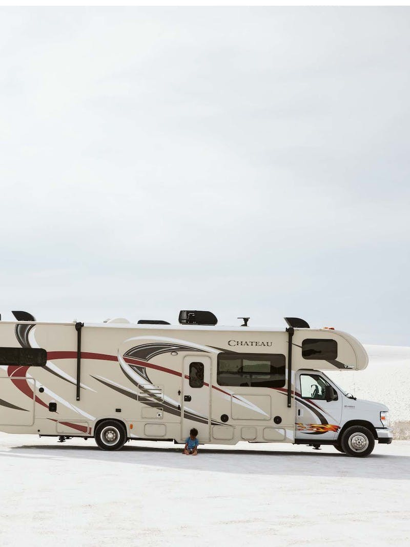 Family takes a weekend road trip in a Class C RV to White Sands National Monument