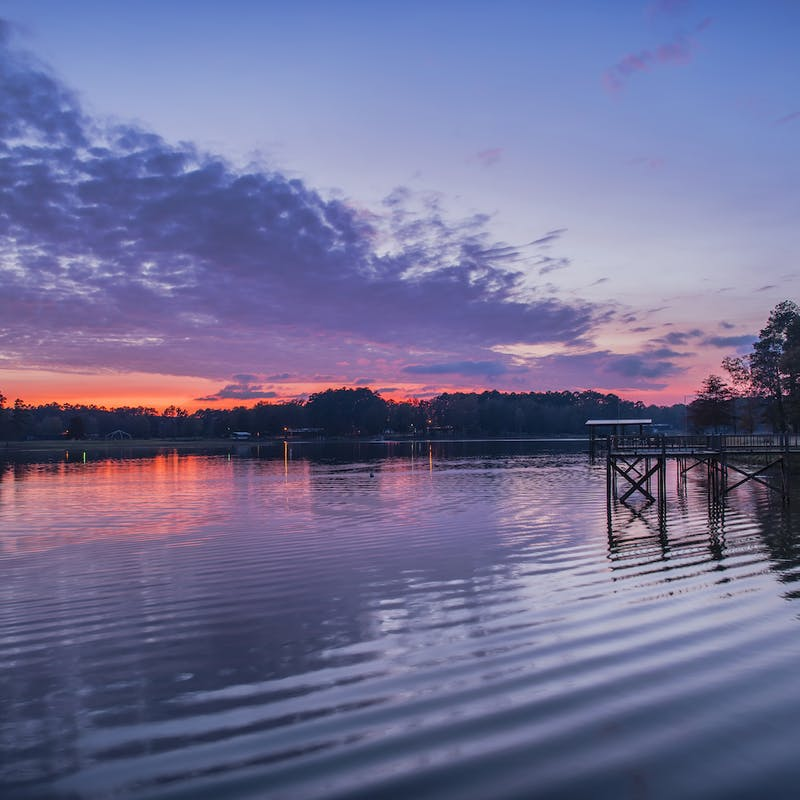 Pink and Purple Sundown Sky at Toledo Bend Reservoir on Texas