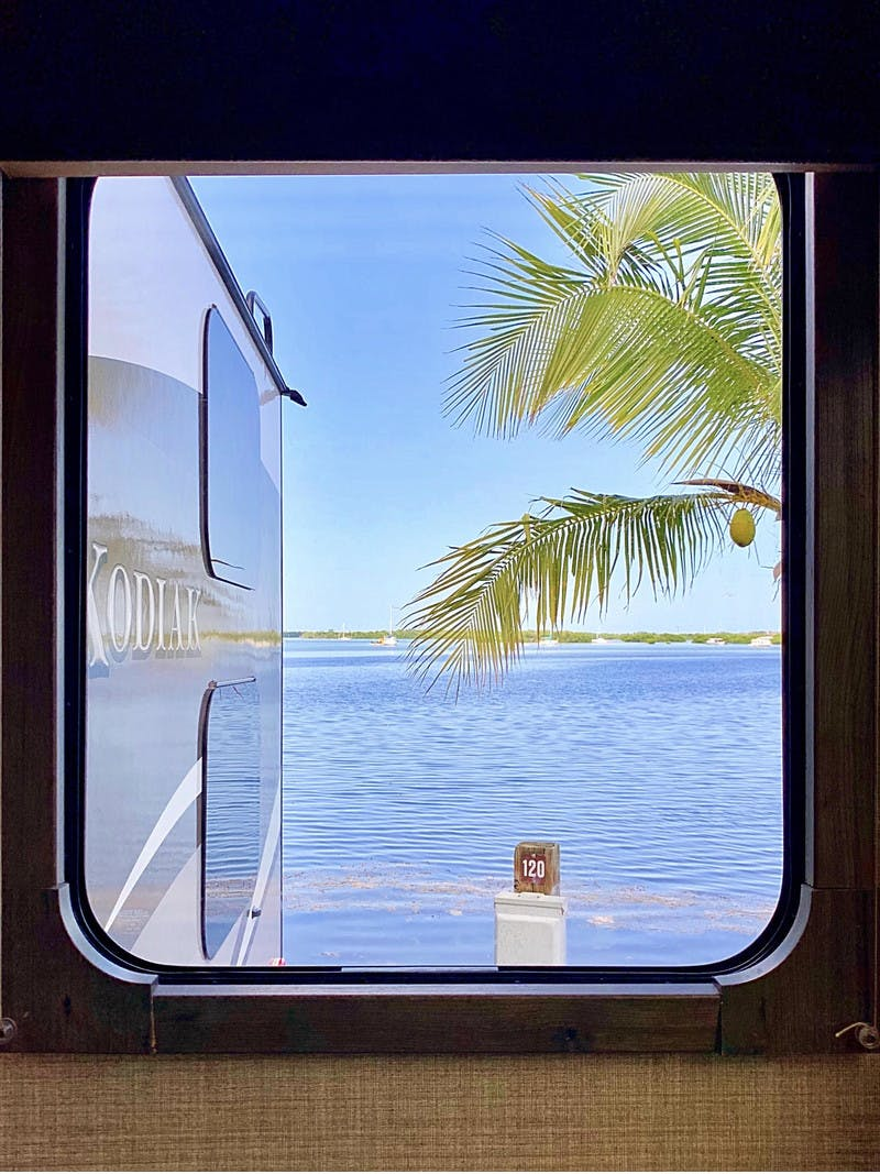 Window To The World RV view looking out to the ocean in Key West, Florida