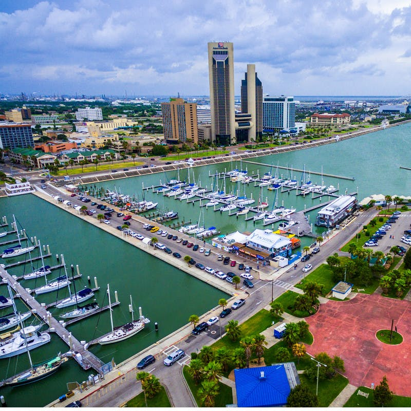 An overhead shot of a marina in Corpus Christi.