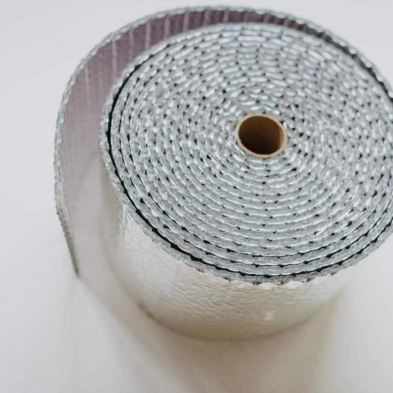 Close up of roll of silver RV insulation tape