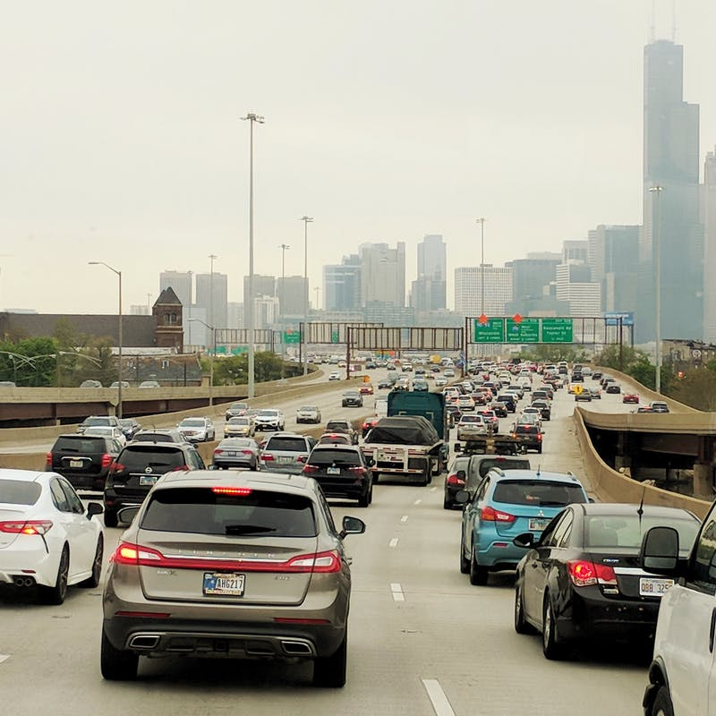 Rush hour traffic on a freeway in Chicago.