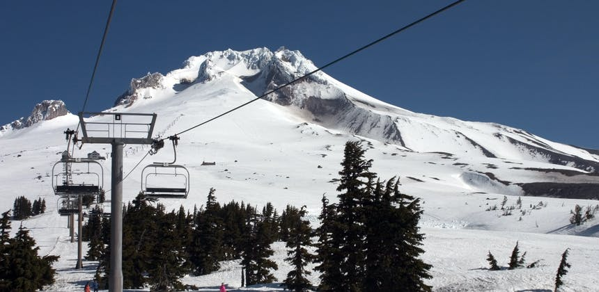 A chair lift on Mt. Hood in Oregon.