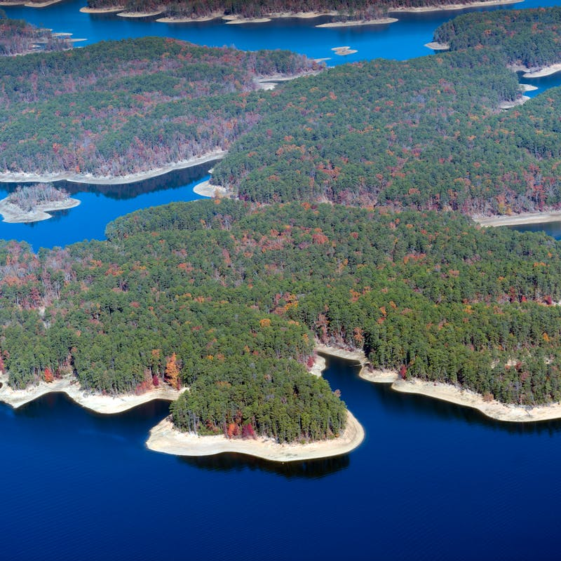 Aerial View of Lake Ouachita, AR, looking towards the West