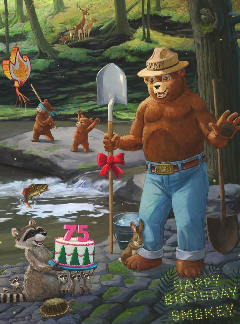 Smokey Bear 75th anniversary celebration artwork