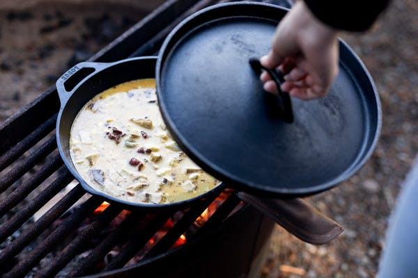 Campfire Bacon Artichoke Frittata