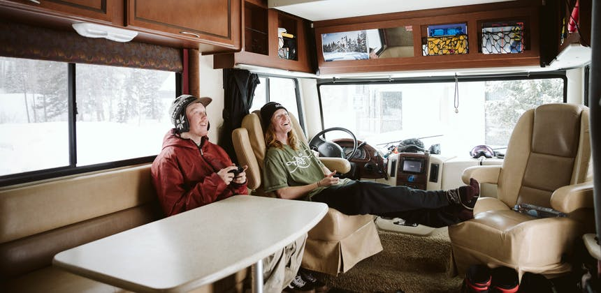 Ryan Barrick hanging with a friend in his RV.