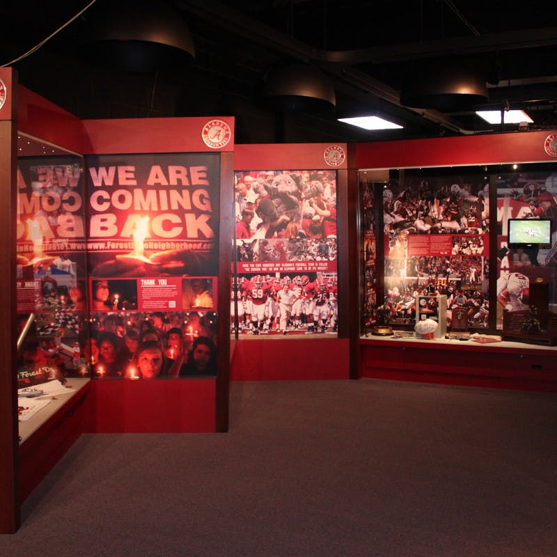Paul W. Bryant Museum college football museum near University of Alabama in Tuscaloosa, Alabama, full of college football memorabilia.