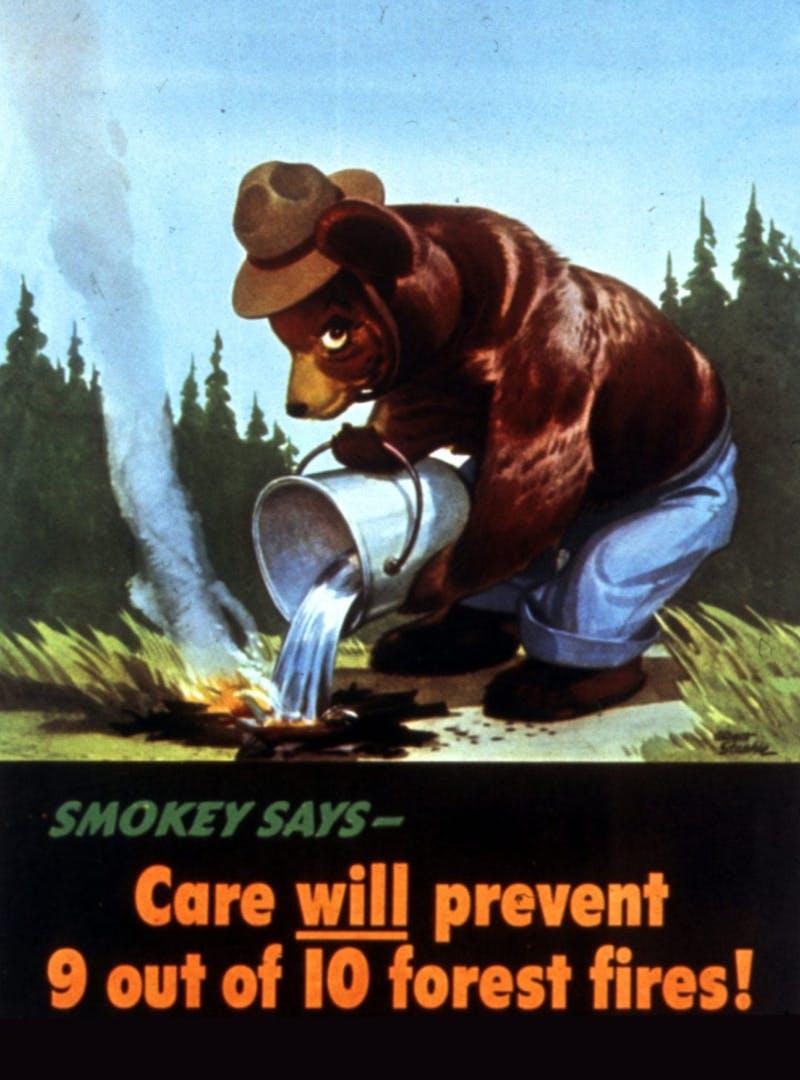 Old Smokey Bear illustrated PSA
