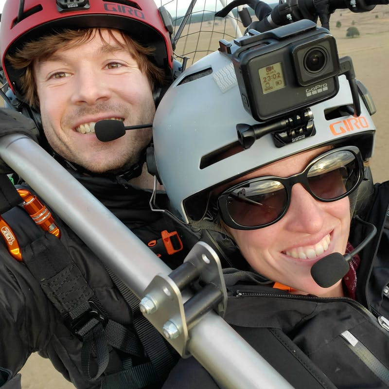 Tucker Gott takes a selfie with his sister while paramotoring.