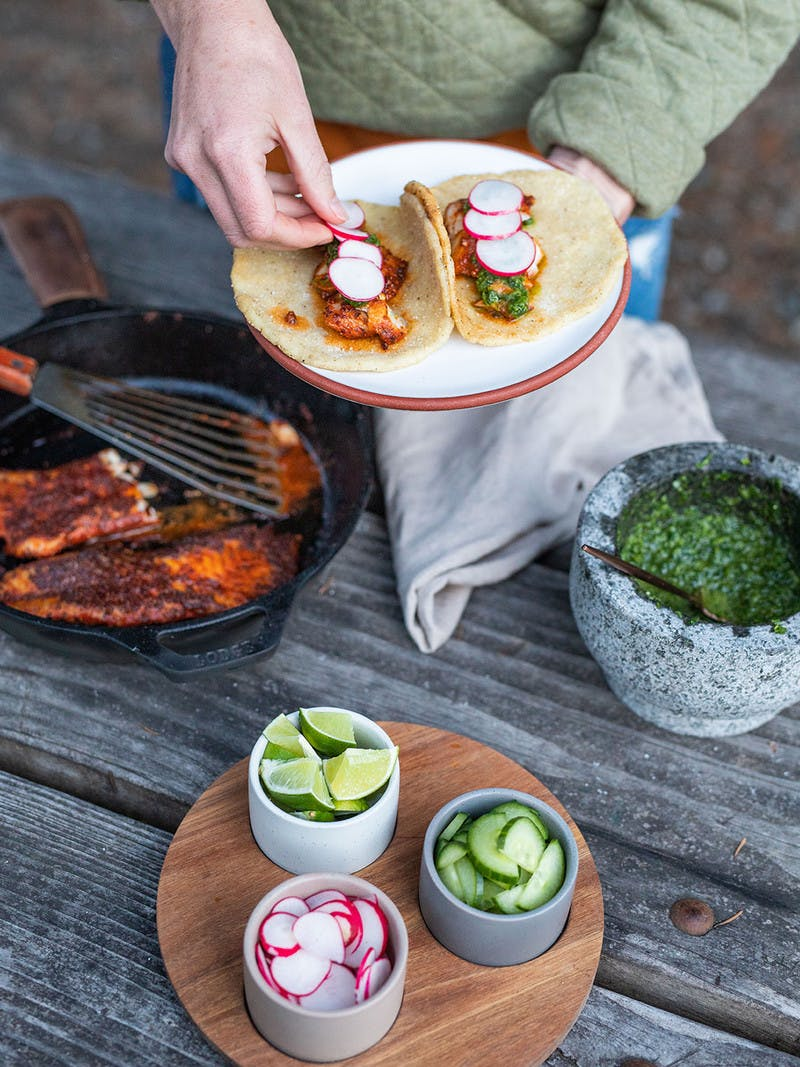 Blackened Rockfish Tacos with Traditional Chimichurri and Fire Roasted Tortillas