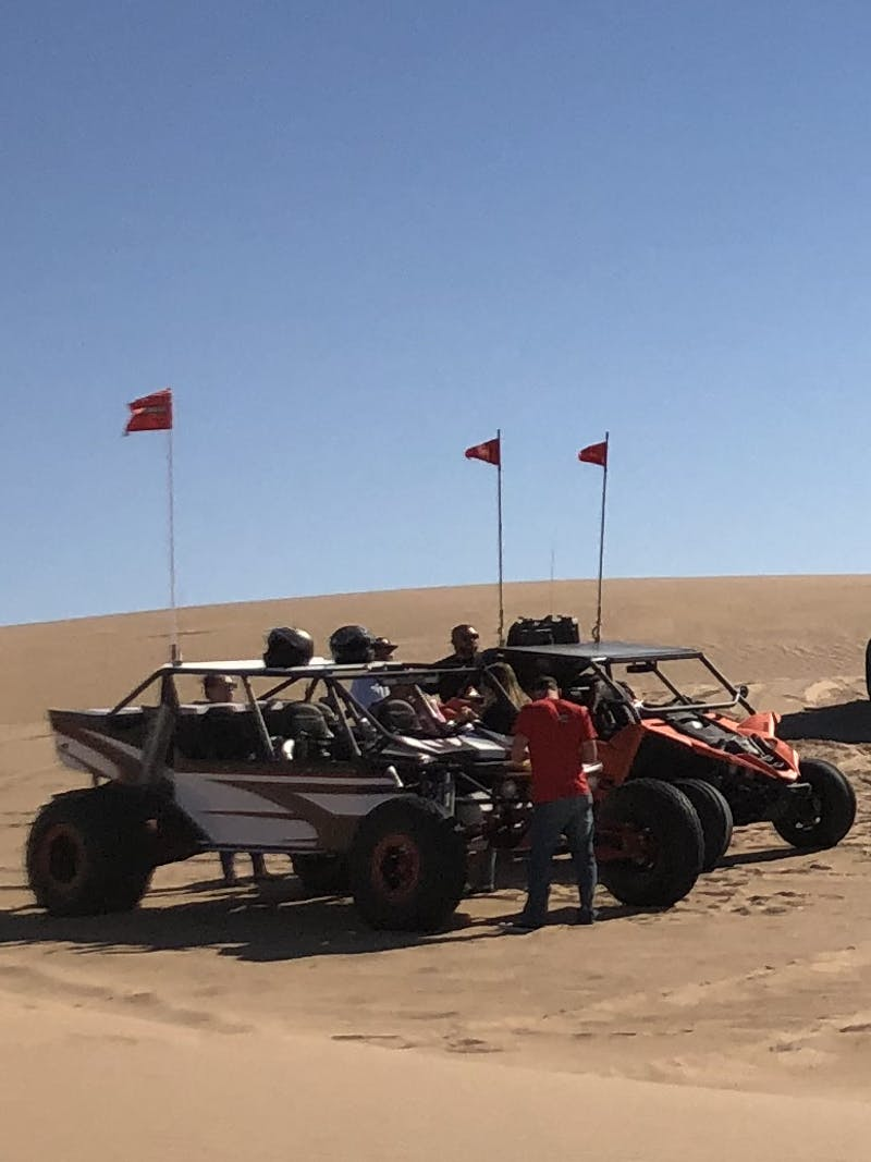 Quad bikes on a dune in Glamis.