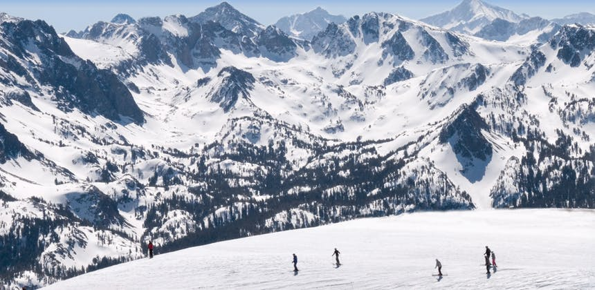 The peaks and valleys of Mammoth Mountain, covered in snow.