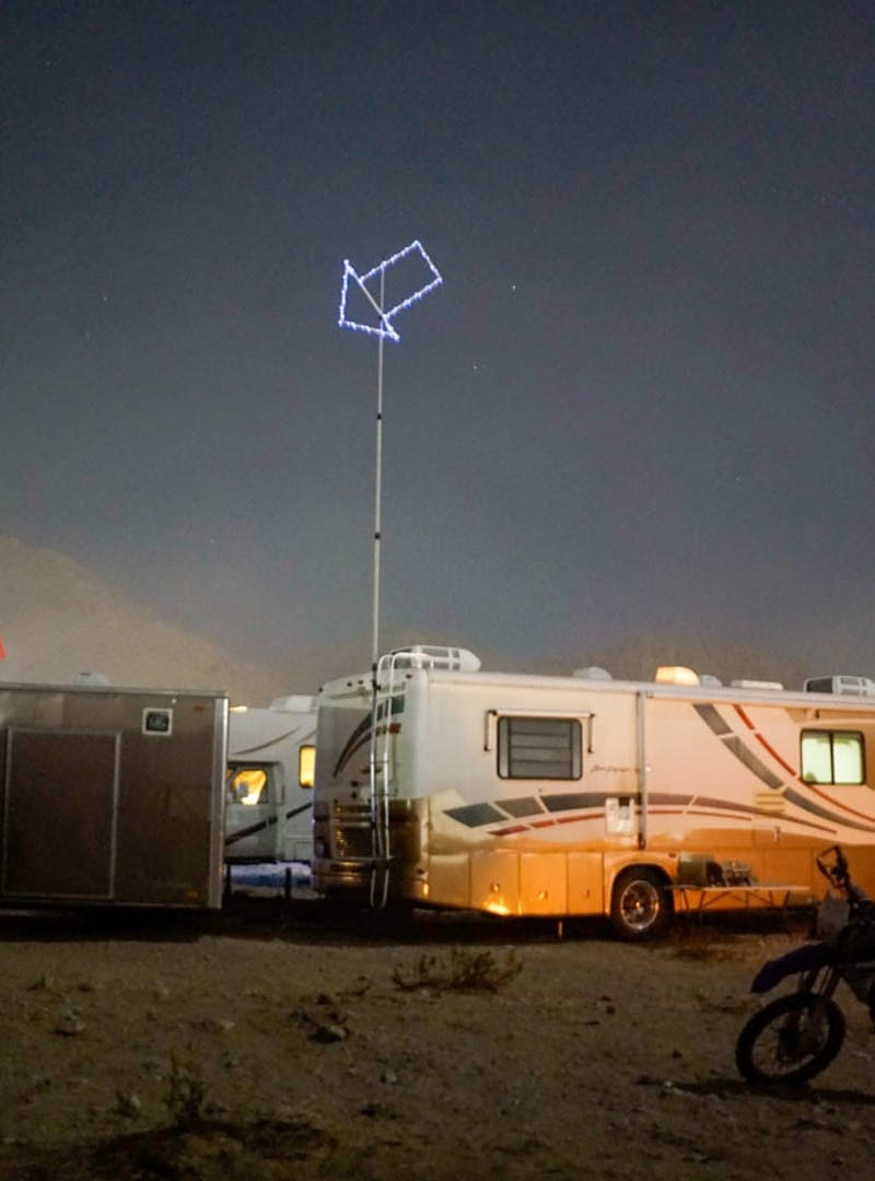 An RV parked at night.