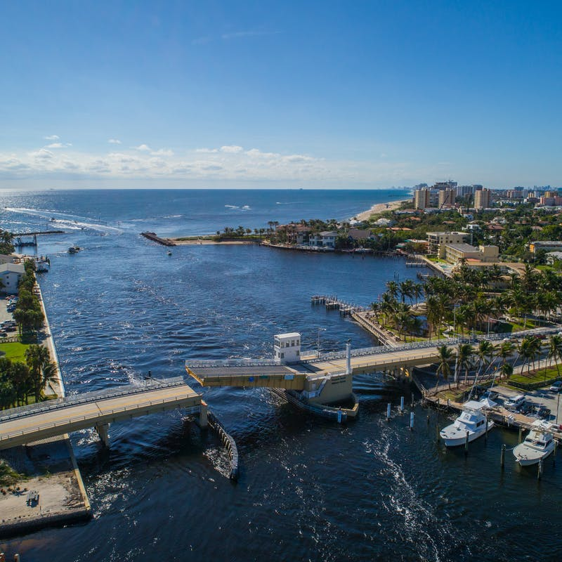Aerial view of coastal waterways and bridges in Florida near Pompano Beach
