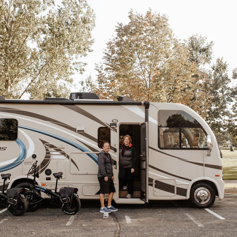 The Bolands posed with their new RV.