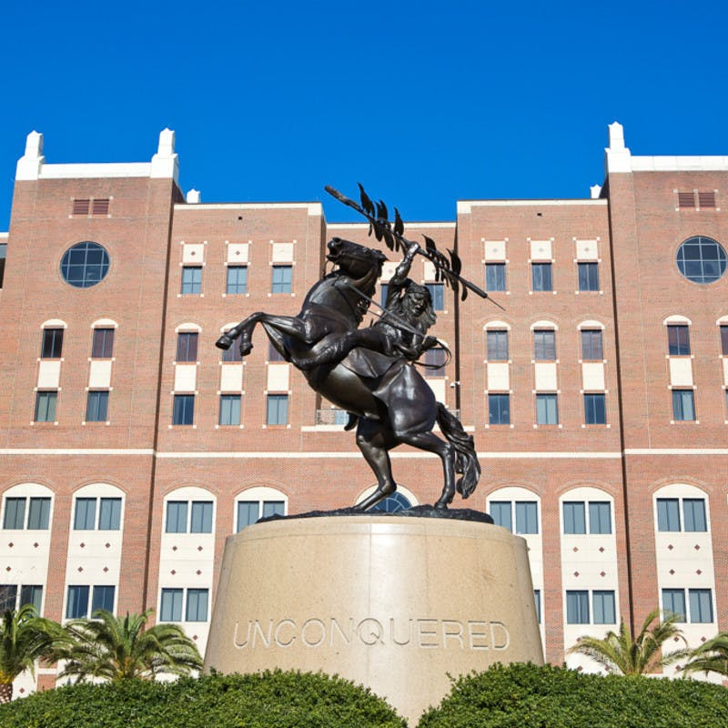 "Bronze ""Unconquered"" statue at the south entrance of Doak S. Campbell Stadium at Florida State University in Tallahassee, Florida."