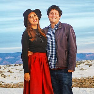 Jesse and Rachel Lyons posed for a picture in the desert.