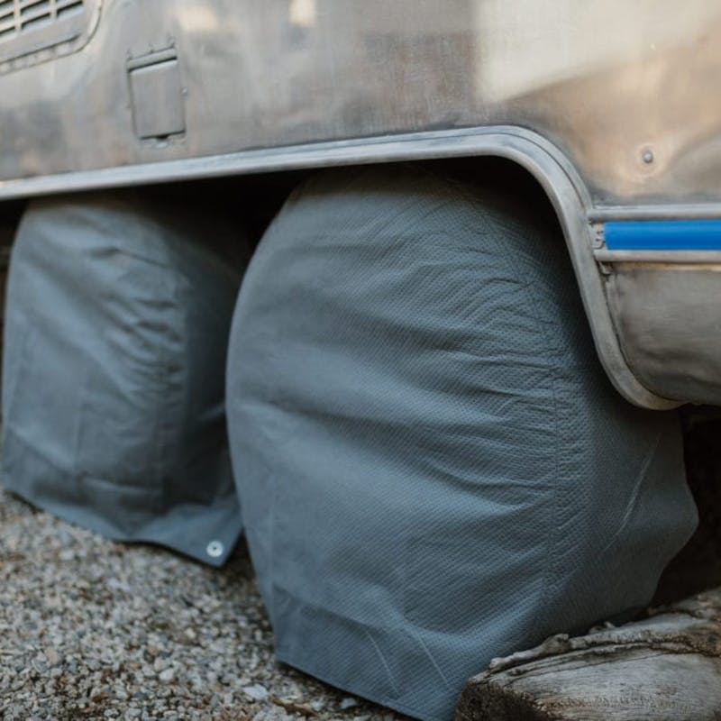 Airstream tires covered on gravel
