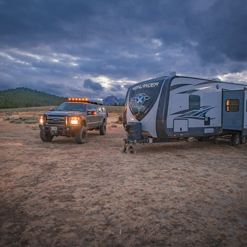Nate Day's RV unhitched at dusk.