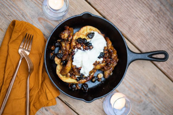 Campfire Hazelnut Cherry Bananas Foster with French Toast and Whipped Cream