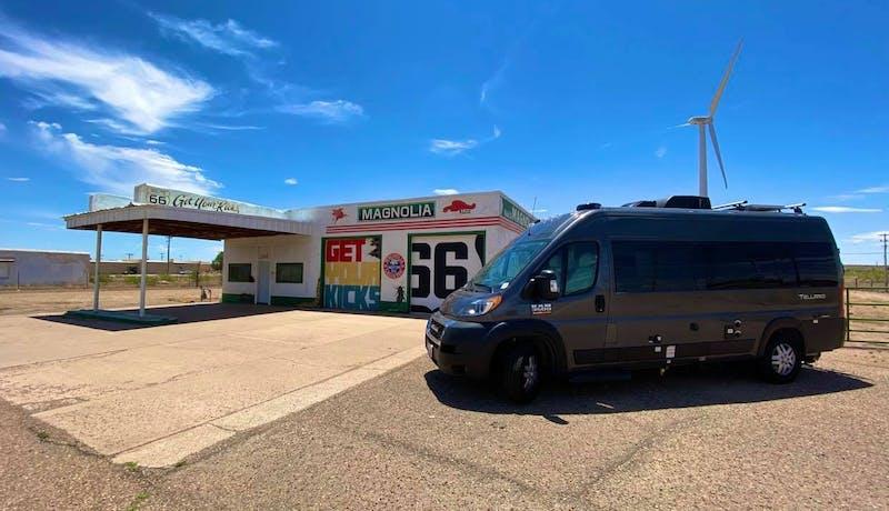 Jess Lawson's Thor Motor Coach Tellaro parked alongside Route 66.