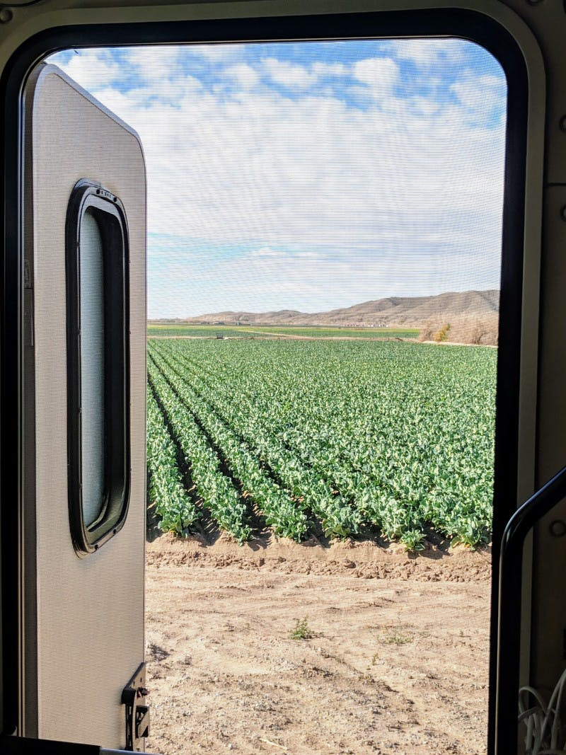 View outside the front screen door of an RV, looking out at a farm field, with brown mountains in the background.