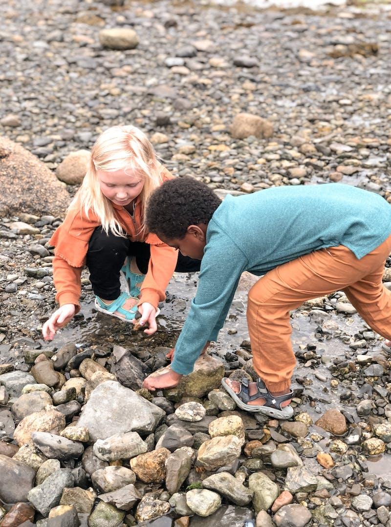 Shannon Carew's children discover rocks together.
