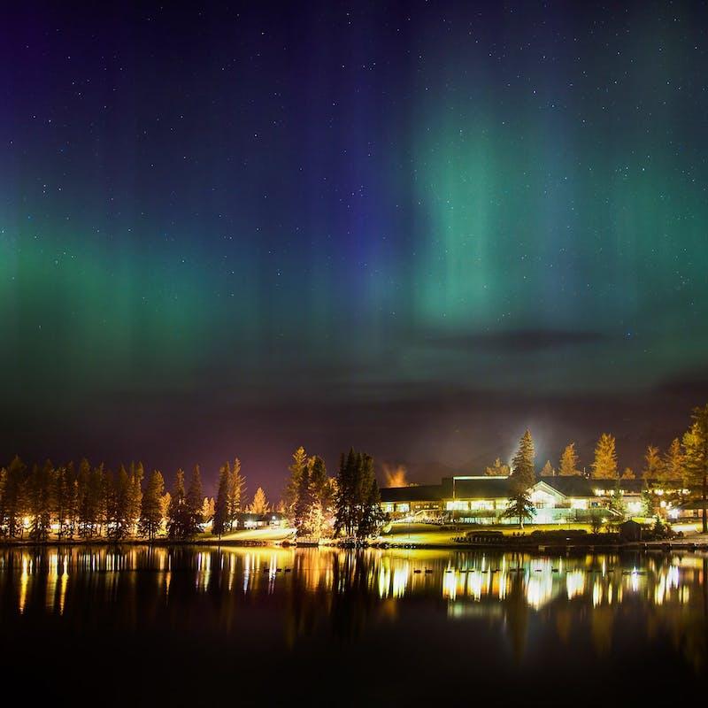 Aurora borealis over Jasper Park Lodge