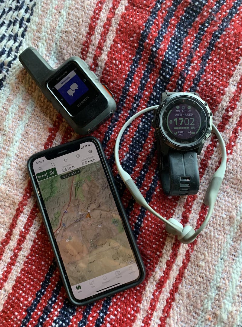 A GAIA GPS, Garmin InReach, Garmin Fenix and AfterShokz are all great for activity tracking and safety.