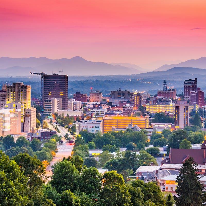 Downtown Asheville, North Carolina, USA at twilight