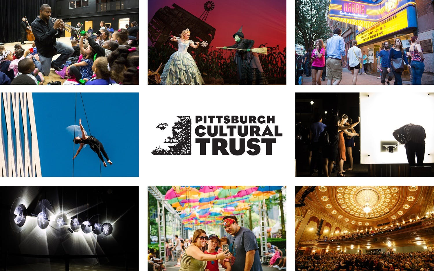 The Pittsburgh Cultural Trust logo surrounded by 8 photos of Trust-related activities. The photos feature a man playing the trumpet, a production of the Wizard of Oz, an aerialist, and people approaching a box office.