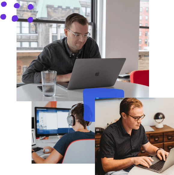 Collage of three photos; the first is taken looking at a designer working at their laptop with a glass of water; the second is a developer working diligently at their desk; the third is a designer working remotely at their laptop.