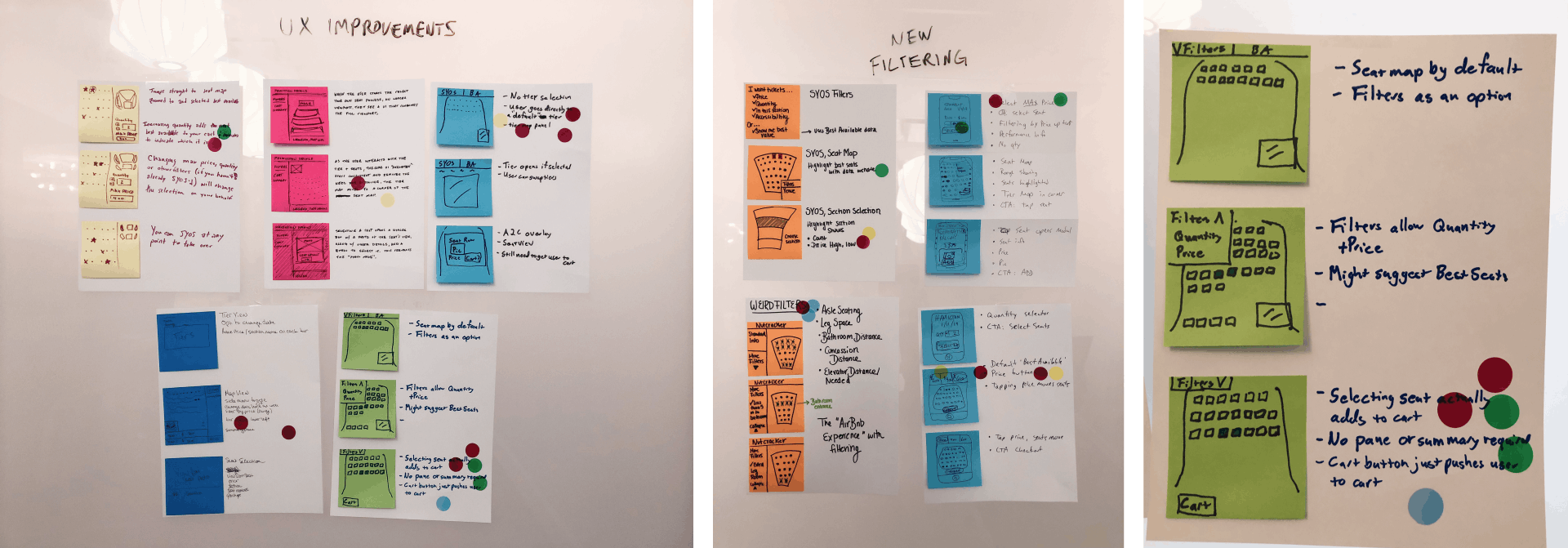 Three photos from the Pittsburgh Cultural Trust design sprint; storyboard sketches arranged on a wall with writing above that says UX Improvements, storyboard sketches arranged on a wall with writing above that says New Filtering, green sticky notes with drawings on them and notes to the right of them.