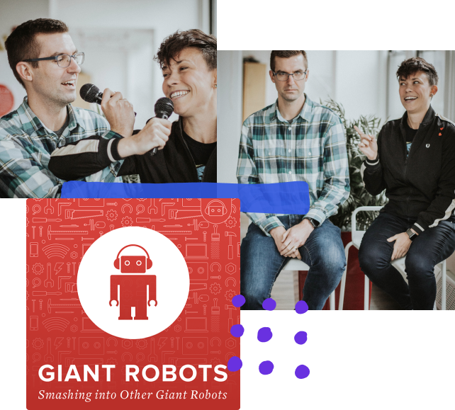 Ralph, the thoughtbot robot mascot, is wearing headphones within a circle, above the words 'Giant Robots Smashing into Other Giant Robots'