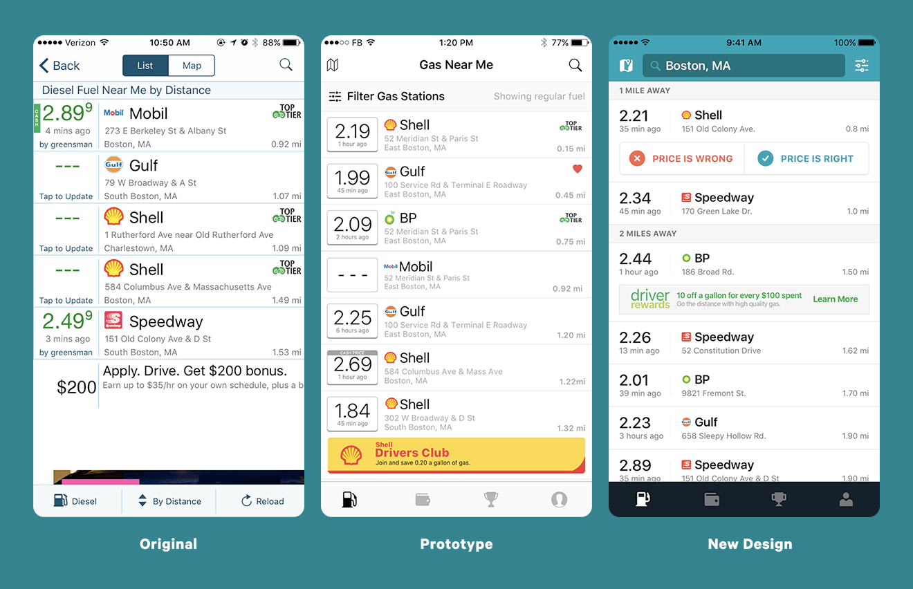 Iteration of the Gasbuddy application; Original design, prototype design, new design