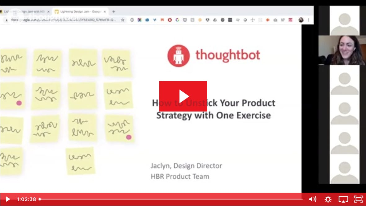 Screenshot of a slide and Jaclyn Perrone video; slide text: How to unstick your product strategy with one exercise