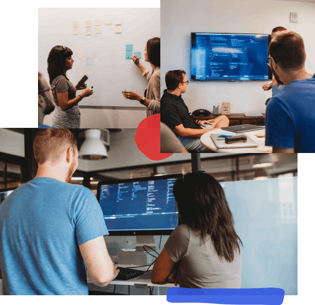 A collage of photos with hand-drawn elements; from top left, two people working at a whiteboard one is pointing at a post-it, three people at a conference table looking at a TV screen with code on it, two people at a desk looking at a screen with code on it