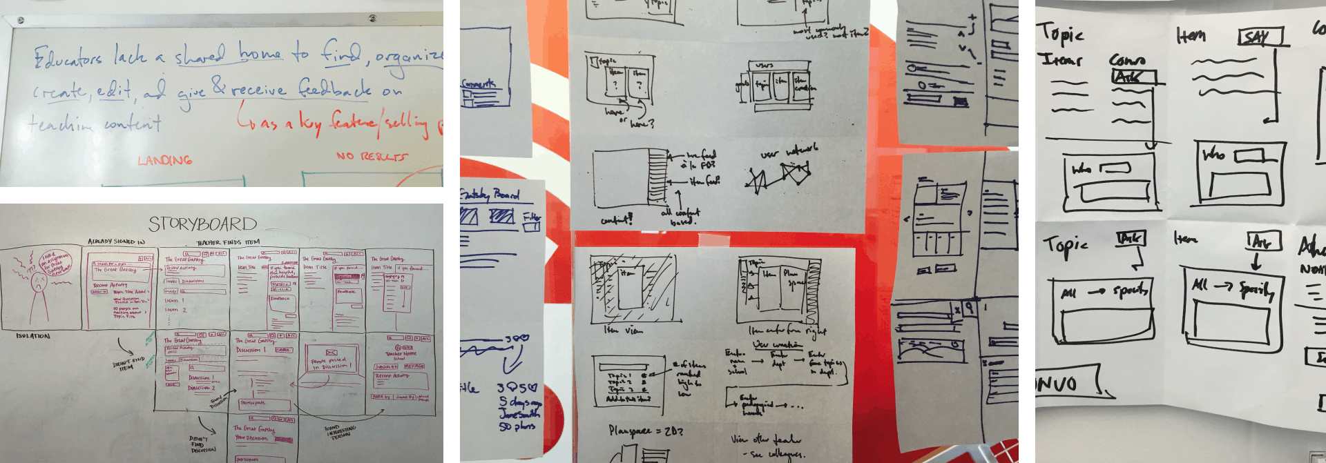 Four photos from the Athena design sprints; A problem statement on a whiteboard, a storyboard of a series of screens on a whiteboard, two photos of crazy eights being hung up.