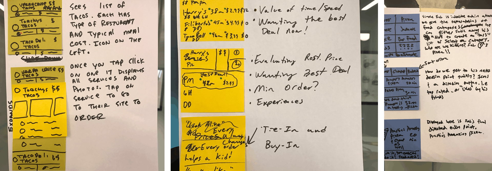 Three photos of design sprint storyboards, sketches on stickies and notes, next to each other