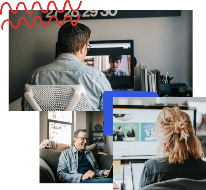 Three photographs of different variations of remote working in a collage with a hand-drawn elements