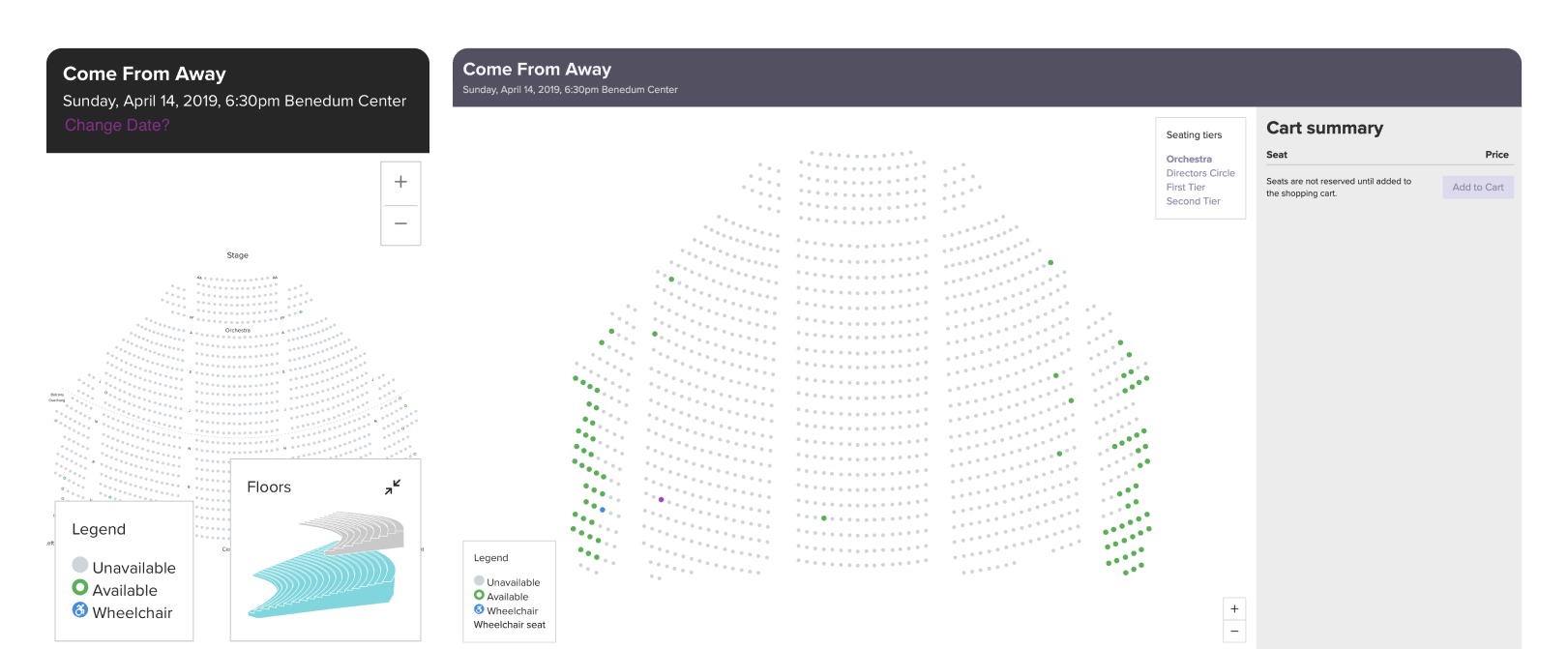 Two screenshots from the ticketing feature on the Pittsburgh Cultural Trust site; the first is a smaller screen showing available seating with a legend and an inset of floor layout, the second is a large screen showing available seating with a cart summary to the right.